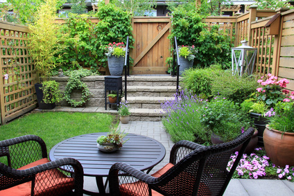 Patio & enclosed yard with wooden fence